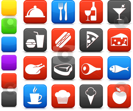 Food and drink icon collection stock vector clipart, Original vector illustration: food and drink icon collection by L Belomlinsky