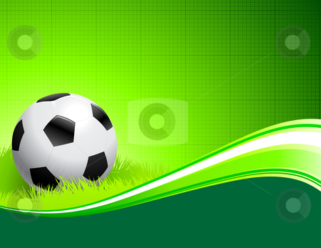 Soccer Ball on abstract green Background stock vector clipart, Soccer Ball on abstract green Background Original Vector Illustration AI8 Compatible by L Belomlinsky