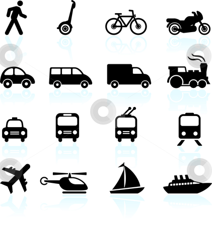 Transportation icons design elements stock vector clipart, Original vector illustration: Transportation icons design elements by L Belomlinsky
