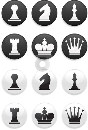 Black and white Chess set on round buttons stock vector clipart, Original vector illustration: black and white Chess set on round buttons by L Belomlinsky