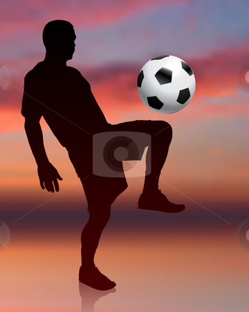 Soccer Player on Evening Background stock vector clipart, Soccer Player on Evening Background Original Vector Illustration by L Belomlinsky