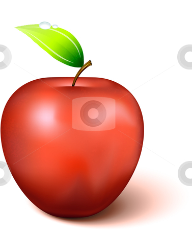 Red Apple stock vector clipart, Red Apple Original Vector Illustration Apple Illustration by L Belomlinsky