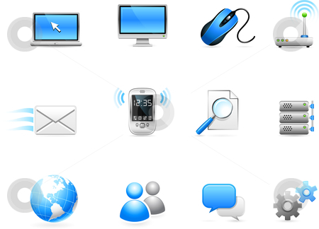 Communication technology icon collection stock vector clipart, Original vector illustration: Communication technology icon collection by L Belomlinsky