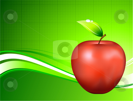 Red Apple on Abstract Green Background stock vector clipart, Red Apple on Abstract Green Background Original Vector Illustration Apple Illustration by L Belomlinsky