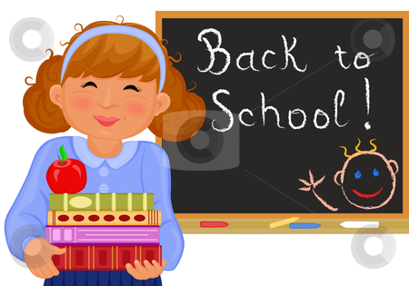 Girl goes back to school in September stock vector clipart, Cute girl goes back to school in September. Vector file saved as EPS AI8 also available. by Andreea Chiper