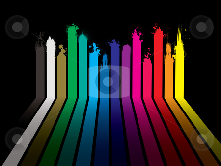 Rainbow paint dribble black stock vector clipart, Bright rainbow paint dribble background with stripes and shadow by Michael Travers