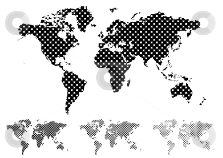 Halftone world map stock vector clipart, Black and white halftone map of the world with different tint values by Michael Travers