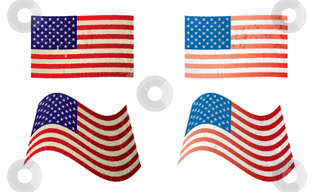 Usa flag grunge variation stock vector clipart, Two old grunge american flags with stars and stripes in red white and blue by Michael Travers