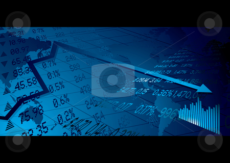 Business stock market stock vector clipart, Financial stock market background with world map figures and graph by Michael Travers