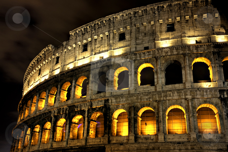 Illuminated Coliseum at night, Rome stock photo, Illuminated Coliseum at night, HDR version, Rome, Italy by Juergen Schonnop
