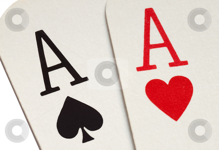 A pair of aces playing cards macro close up. stock photo, A pair of aces playing cards macro close up. by Stephen Rees