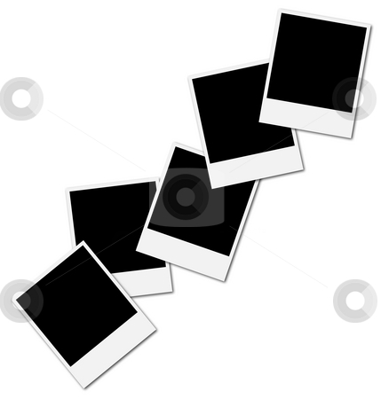 Frame for photo collage stock photo, Five blank polaroid frames ready to insert photos and create a photo collage by Daniele Cucchi