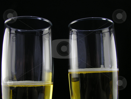 Champagne for two stock photo, Champagne for two on a black background by Christy Thompson