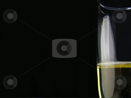 I drink alone stock photo, Champagne glass on a black background by Christy Thompson