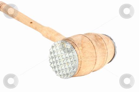 Used meat hammer stock photo, Used wooden meat hammer isolated on white by Borislav Marinic