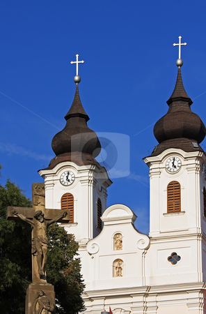 Church stock photo, The church of Tihany(Hungary) is interesting for the double towers by ARPAD RADOCZY