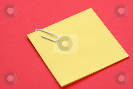 Post-it note stock photo, Blank yellow note on red background by Suprijono Suharjoto