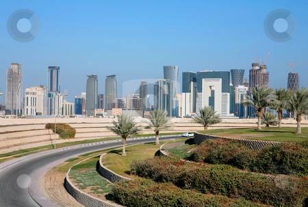 Doha skyline stock photo, A view of the emerging skyline in Doha, the capital city of Qatar, Arabia, seen from inland. by Paul Cowan
