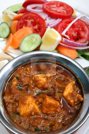 Kadai paneer curry stock photo, Kadai paneer cheese curry in a cardamon gravy, with naan bread and salad by Paul Cowan