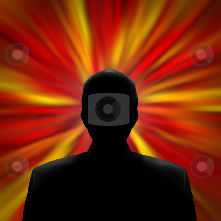 Silhouetteed Man in a Red Vortex stock photo, Black silhouette of a mysterious man in front of a red vortex by J.R. Bale