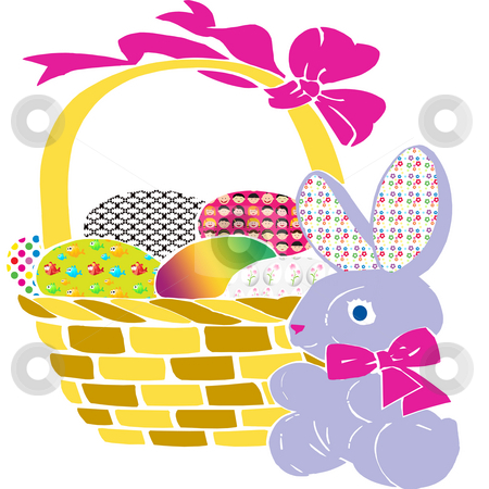 Easter Bunny stock photo, Easter bunny stands beside a full Easter egg basket by CHERYL LAFOND