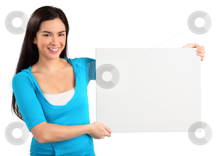 Young Woman Holding a Blank White Sign stock photo, A beautiful young woman is holding and showing a blank white sign. by Denis Pepin