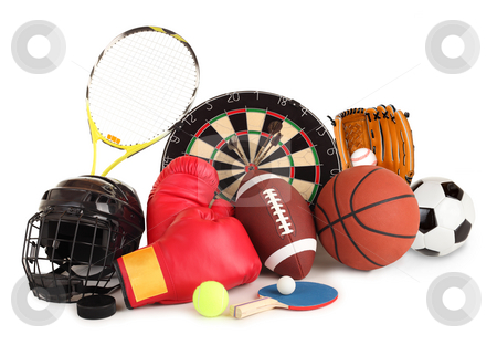 Sports and Games Arrangement stock photo, This is an arrangement of several sports items. by Denis Pepin