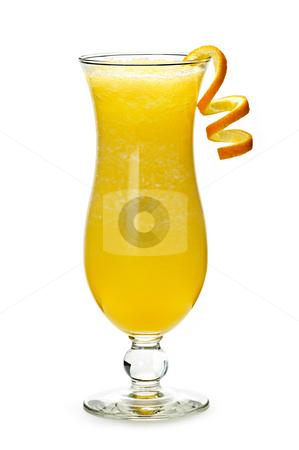 Frozen orange drink stock photo, Glass of orange drink in hurricane cocktail glass by Elena Elisseeva