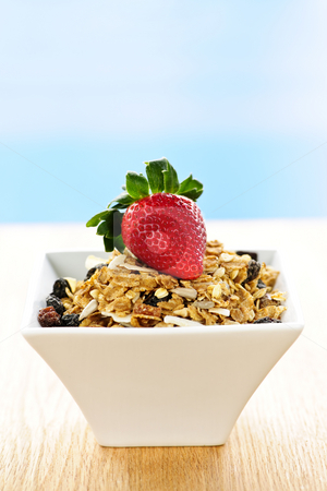 Breakfast granola cereal stock photo, Bowl of granola cereal with fresh strawberry by Elena Elisseeva