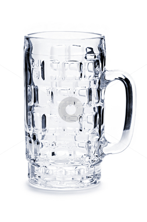 Empty beer mug stock photo, Empty beer glass isolated on white background by Elena Elisseeva