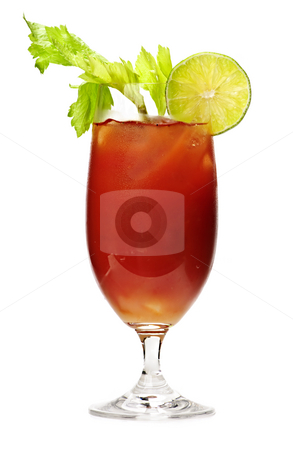 Bloody mary drink stock photo, Bloody mary in glass isolated on white background with celery stalk by Elena Elisseeva