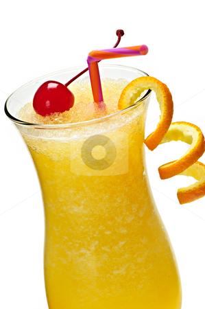 Frozen orange drink stock photo, Glass of orange juice drink in hurricane cocktail glass by Elena Elisseeva