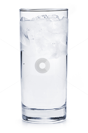 Full glass of ice water stock photo, Full glass of water with ice isolated on white background by Elena Elisseeva