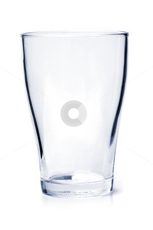 Empty drinking glass stock photo, Single empty drinking glass isolated on white background by Elena Elisseeva