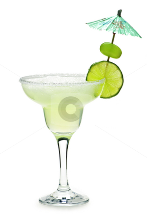 Margarita in a glass stock photo, Margarita in glass with lime isolated on white background by Elena Elisseeva