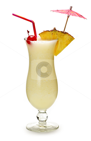 Pina colada cocktail stock photo, Pina colada drink in hurricane cocktail glass isolated on white background by Elena Elisseeva