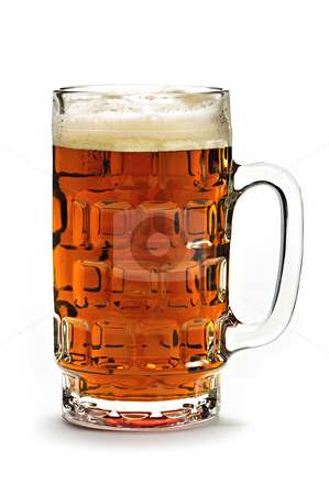 Mug of beer stock photo, Full beer glass isolated on white background by Elena Elisseeva