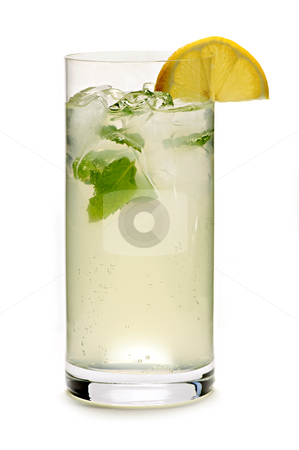 Lemonade stock photo, Glass of sparkling lemonade with mint and ice by Elena Elisseeva