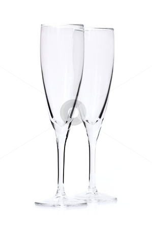 Champagne glasses stock photo, Two empty champagne flutes isolated on white background by Elena Elisseeva