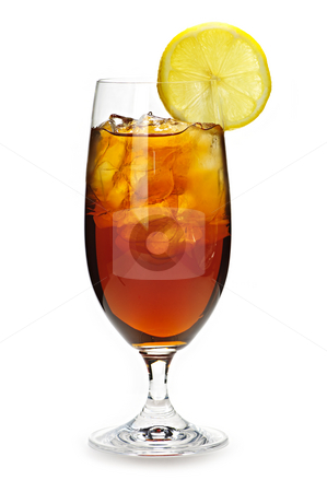 Lemon iced tea stock photo, Glass of cold iced tea with ice and lemon by Elena Elisseeva