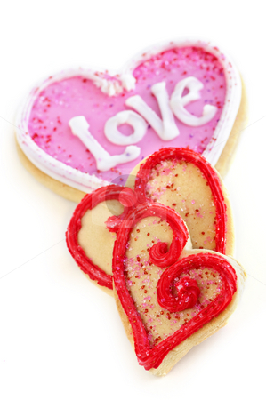 Valentines cookies stock photo, Homemade baked shortbread Valentine cookies with icing on white background by Elena Elisseeva