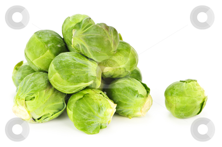 Isolated brussels sprouts stock photo, Bunch of green brussels sprouts isolated on white background by Elena Elisseeva