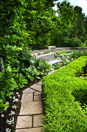 Lush green garden stock photo, Lush green garden with stone landscaping, hedge, path and bench by Elena Elisseeva