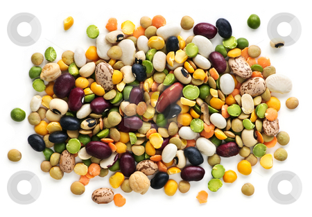 Dry beans and peas stock photo, Mixture of dry beans and peas isolated on white background by Elena Elisseeva