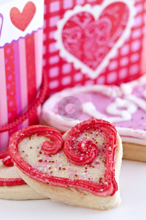 Valentines cookies stock photo, Homemade baked shortbread Valentine cookies with icing and gift boxes by Elena Elisseeva