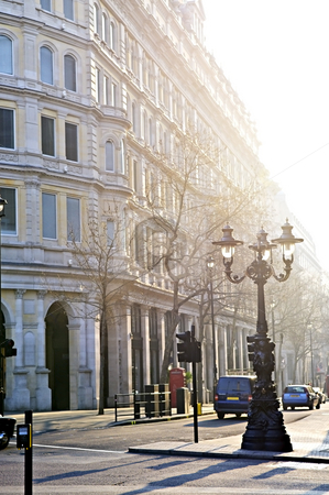 London street stock photo, View of London street in early morning light by Elena Elisseeva
