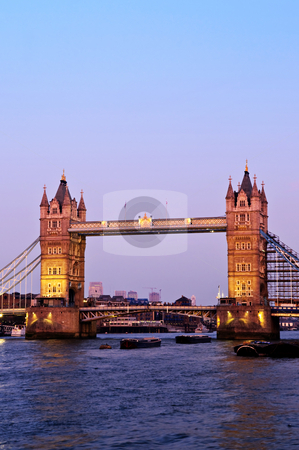 Tower bridge in London at dusk stock photo, Tower bridge in London England at sunset over Thames river by Elena Elisseeva
