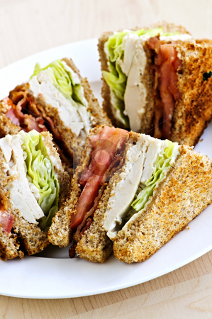 Club sandwich stock photo, Toasted club sandwich sliced on a plate by Elena Elisseeva