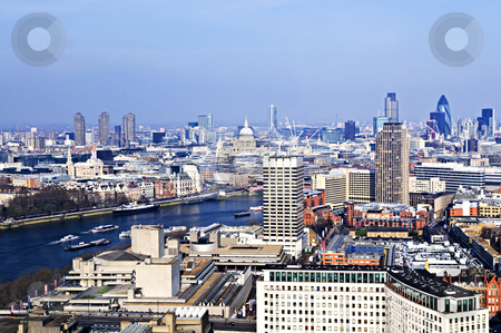 Cityscape from London Eye stock photo, Cityscape view of buildings and Thames River from London Eye by Elena Elisseeva