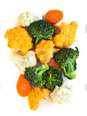 Broccoli cauliflower and carrots stock photo, Broccoli cauliflower and carrots isolated on white background by Elena Elisseeva